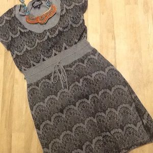 Angie small grey scoop neck cozy patterned dress